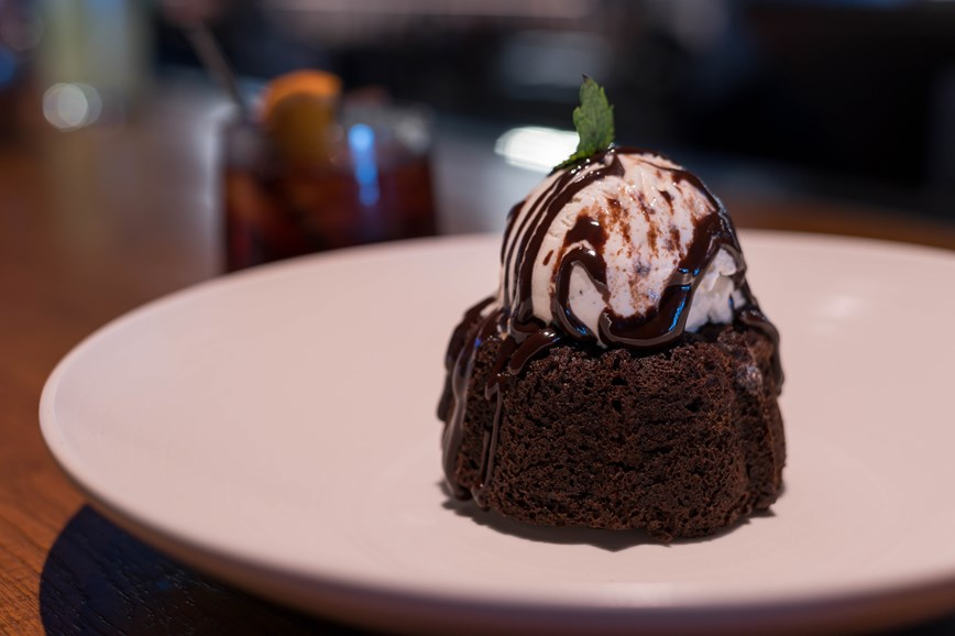 Mini Chocolate Bundt Cake, Molten Chocolate Ganache, Vanilla Bean Ice Cream